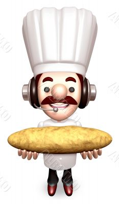 Bakers Lift a Baguette. 3D Chef Character