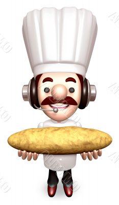 Bakers Lift a Baguette. 3D Chef Character