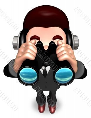 The Service Man a binoculars watching. 3D Salesmen Character