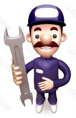 Service man Grasp a Spanner. 3D Service Man Character