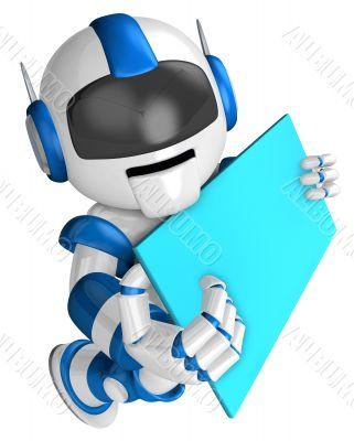 Lift up a blue robot Board. 3D Robot Character