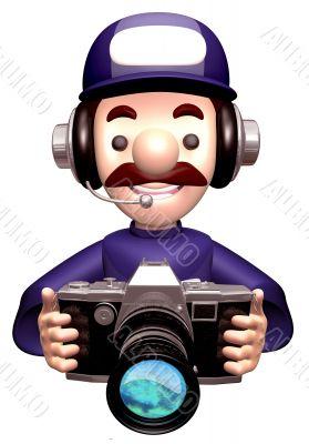 Service man Grabs a Old camera. 3D Service Man Character