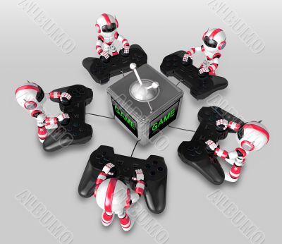 The boat Red Robot playing Games. 3D Robot Character