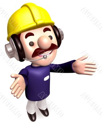 Body language to welcome construction works. 3D Works Character