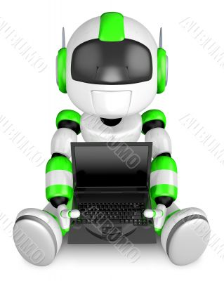 Laptop sitting on the green robot. 3D Robot Character