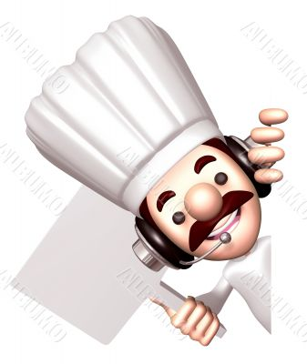 Chef holding a signpost. 3D Chef Character