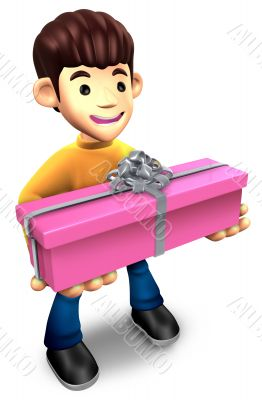 Young man holding a gift box long. 3D Family Character