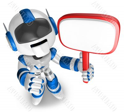 Blue Robot holding a signpost. 3D Robot Character
