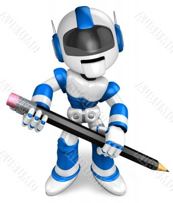The writing with a pencil a Blue Robot. 3D Robot Character