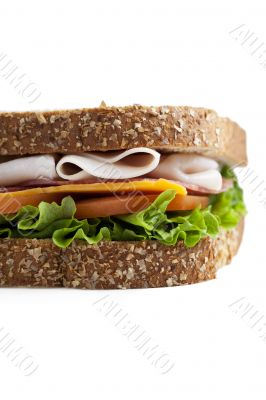 cropped close up image of ham sandwich