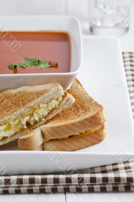 breakfast sandwich and tomato soup