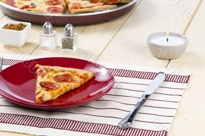 pizza on restaurant table