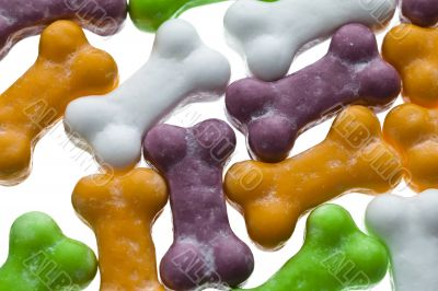 colorful bone candies close up