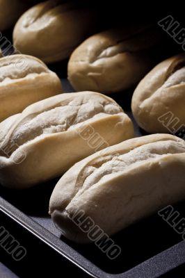 freshly baked bread inside the oven