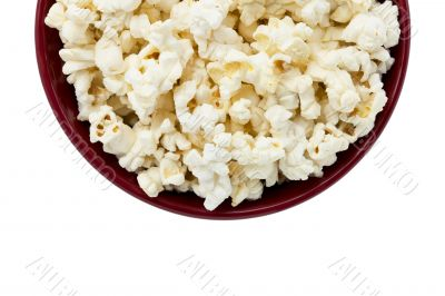 cropped image of a popcorn inside the red bowl