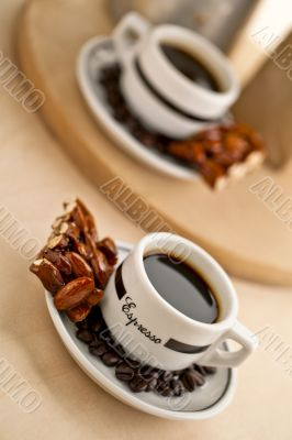 almond bar and black coffee