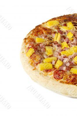 half portion of hawaiian pizza