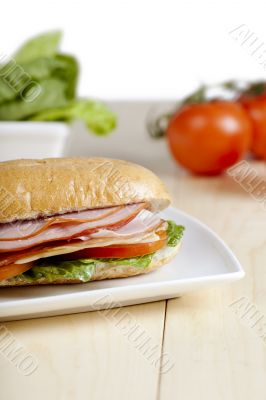 cropped ham sandwich in plate