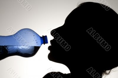 thirsty female drinking water