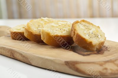 baguette slices with spread