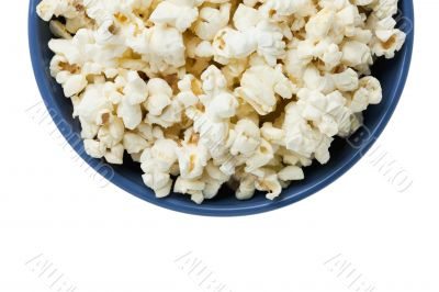 cropped blue bowl of popcorn