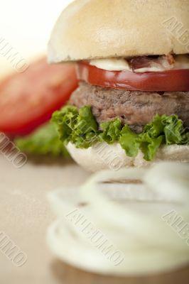 hamburger on kitchen table