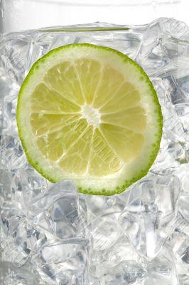 view of lemon slice in ice cubes