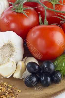 raw vegetables for preparing pizza