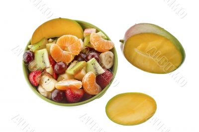 fruit salad in the bowl with mango