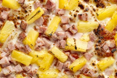 macro shot of hawaiian pizza