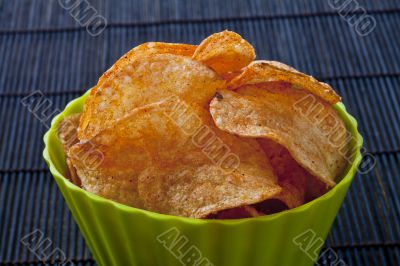 close up image of bowl of cheese potato chips