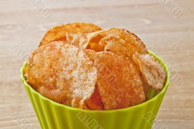 cheese potato chips in bowl close up