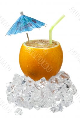 sliced orange with drinking straw and umbrella