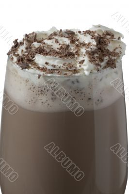 glass of chocolate drink with cream