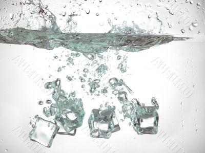 ice cube dropped under the water