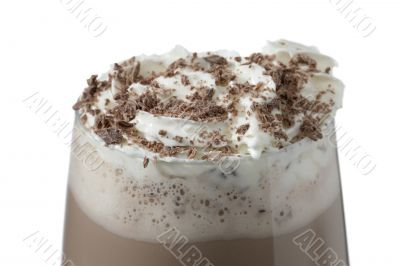 chocolate milk shake with whipped cream and chocolate sprinkles