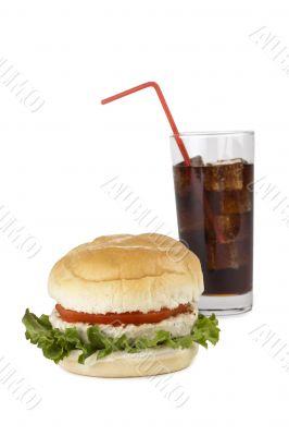 soda and hamburger