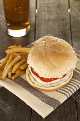 low fat burger fries and soda