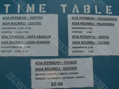 Time table for the ferry in Crete