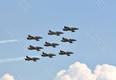 Demonstrative performance of Italian aerobatic team at the air s