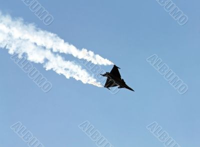 Demonstrative performance of jet `Dassault Rafale` at the air sh