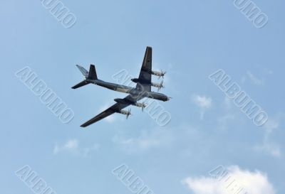 Russian strategic bomber `Tu 95` in flight