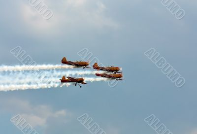 "Aerobatic  group ""First flight"" in the sky"