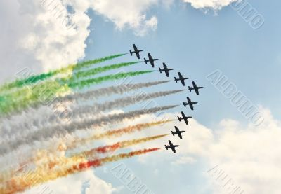 Demonstrative performance of Italian aerobatic team at the air s