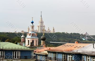 Church against the Sparrow Hills in Moscow