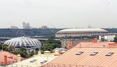 Domes of the sports complex, view from above