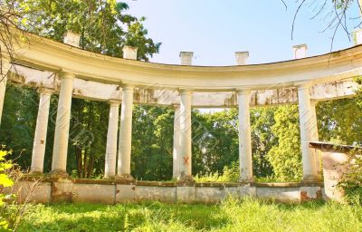 Colonnade of the old abandoned estate near Moscow