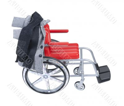 Wheelchair with Houndstooth Jacket and Scarf