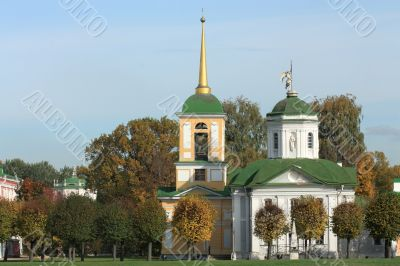 Kuskovo estate. View of the palace church with a bell tower