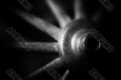 black and white image of a wheel